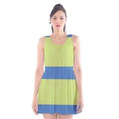Cvst0095 Beige Blue Green Stripes Scoop Neck Skater Dress