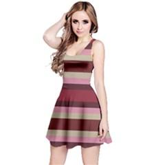 Cvst0096 Pink Brown Beige Maroon Stripes Reversible Sleeveless Dress
