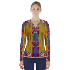 Rainy Day To Cherish  In The Eyes Of The Beholder V Neck Long Sleeve Top