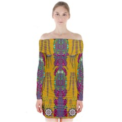 Rainy Day To Cherish  In The Eyes Of The Beholder Long Sleeve Off Shoulder Dress