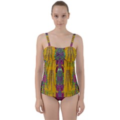 Rainy Day To Cherish  In The Eyes Of The Beholder Twist Front Tankini Set