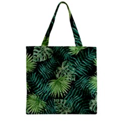 Tropical Pattern Zipper Grocery Tote Bag