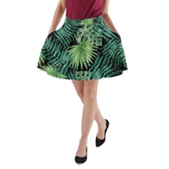 Tropical Pattern A Line Pocket Skirt