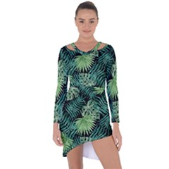 Tropical Pattern Asymmetric Cut Out Shift Dress