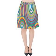 Cvar0035 Hypno Rings Retro Velvet High Waist Skirt