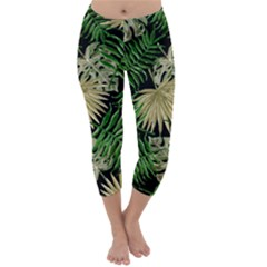 Tropical Pattern Capri Winter Leggings