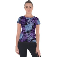 Tropical Pattern Short Sleeve Sports Top
