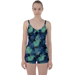 Tropical Pattern Tie Front Two Piece Tankini