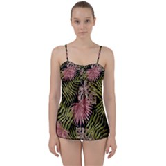 Tropical Pattern Babydoll Tankini Set