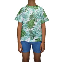 Tropical Pattern Kids  Short Sleeve Swimwear