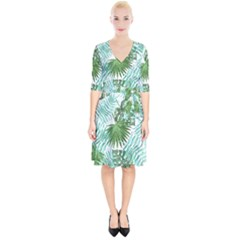 Tropical Pattern Wrap Up Cocktail Dress