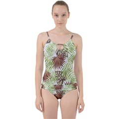 Tropical Pattern Cut Out Top Tankini Set