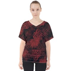 Tropical Pattern V Neck Dolman Drape Top