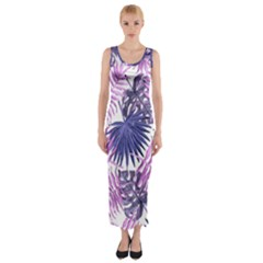 Tropical Pattern Fitted Maxi Dress