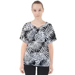Tropical Pattern V Neck Dolman Drape Top