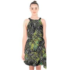 Tropical Pattern Halter Collar Waist Tie Chiffon Dress