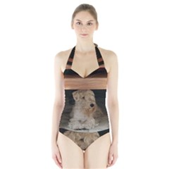 Sealyham Terrier Laying Halter Swimsuit