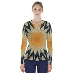 Cvar0038 Autumn Sunny Side V Neck Long Sleeve Top