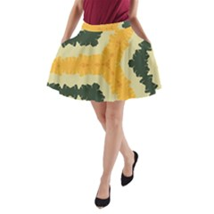 Cvar0039 Autumn Feathered Ribbons A Line Pocket Skirt
