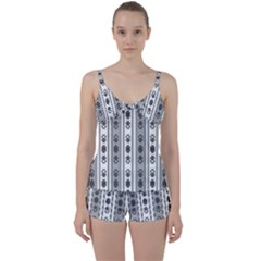 Folklore Pattern Tie Front Two Piece Tankini