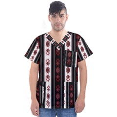 Folklore Pattern Men s V Neck Scrub Top