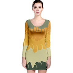 Cvar0040 Autumn Abstract Landscape Sky Long Sleeve Velvet Bodycon Dress