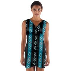 Folklore Pattern Wrap Front Bodycon Dress