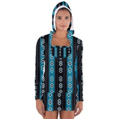 Folklore Pattern Long Sleeve Hooded T Shirt