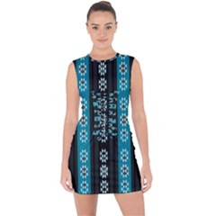 Folklore Pattern Lace Up Front Bodycon Dress