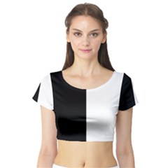 Black And White Short Sleeve Crop Top (tight Fit)