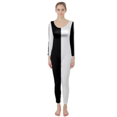 Black And White Long Sleeve Catsuit