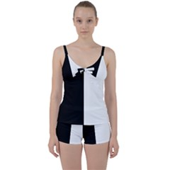 Black And White Tie Front Two Piece Tankini