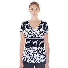 Dalmatian Dog Short Sleeve Front Detail Top