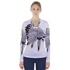 Indian Chef  V Neck Long Sleeve Top