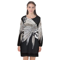 Indian Chef  Long Sleeve Chiffon Shift Dress