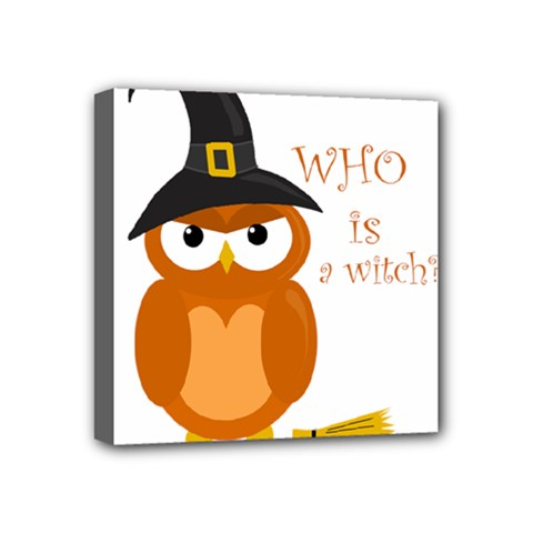 Halloween Orange Witch Owl Mini Canvas 4  X 4