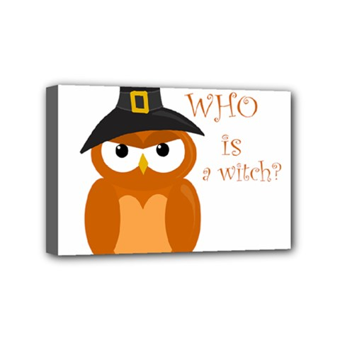 Halloween Orange Witch Owl Mini Canvas 6  X 4