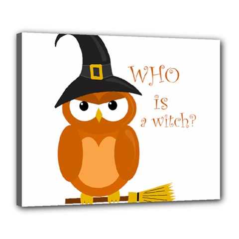 Halloween Orange Witch Owl Canvas 20  X 16