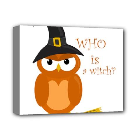 Halloween Orange Witch Owl Deluxe Canvas 14  X 11