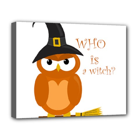 Halloween Orange Witch Owl Deluxe Canvas 20  X 16