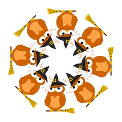 Halloween Orange Witch Owl Hook Handle Umbrellas (large)