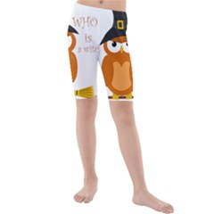 Halloween Orange Witch Owl Kids  Mid Length Swim Shorts