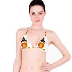 Halloween Orange Witch Owl Bikini Top