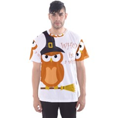 Halloween Orange Witch Owl Men s Sports Mesh Tee