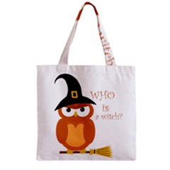 Halloween Orange Witch Owl Grocery Tote Bag