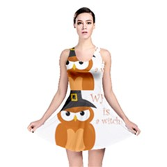 Halloween Orange Witch Owl Reversible Skater Dress