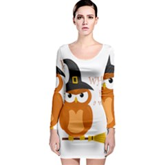 Halloween Orange Witch Owl Long Sleeve Bodycon Dress