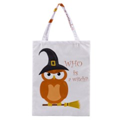 Halloween Orange Witch Owl Classic Tote Bag