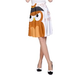Halloween Orange Witch Owl A Line Skirt