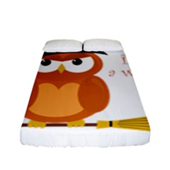 Halloween Orange Witch Owl Fitted Sheet (full/ Double Size)